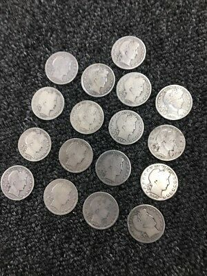 17 BARBER  HALF DOLLARS MIXED DATES  90% Silver Coins
