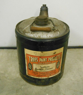 Vintage True's Paint Products 5 Gallon Thinner Can Memphis TN True-Tagg Wood Hdl