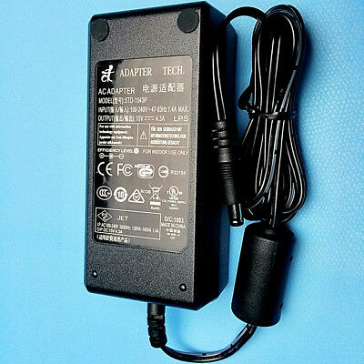 15V DC Power Supply 4.3A 60W with 6' AC Power Cord UL Listed Efficiency Level IV