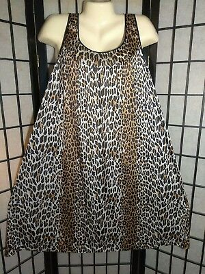Vintage Vanity Fair Leopard Animal Print Nylon Nightgown Knee Length Size L