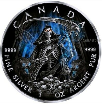 2016 1 Oz Silver GRIM REAPER Death Maple Leaf Armageddon Coin..