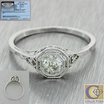 1930s Antique Art Deco 14k White Gold .33ctw Solitaire Diamond Engagement Ring