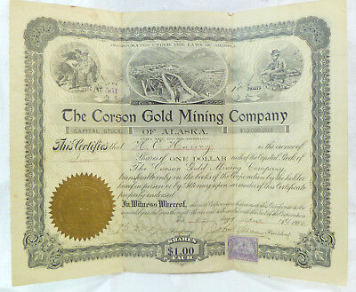 The Corson Gold Mining Company of Alaska 1902 Certificate 10 Shares