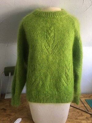 Women's Vintage 80's Mohair Blend Sweater Lime Green Excellent Condition!