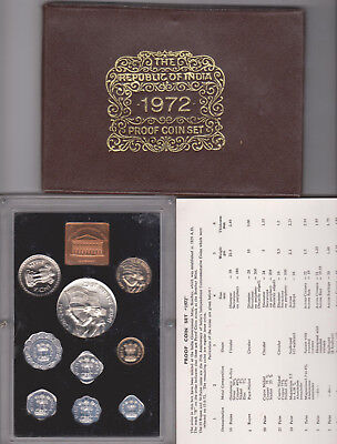1972 Republic Of India 9 Coin Proof Set-India Government Mint-Bombay