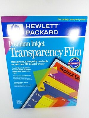HP Premium Injet Transparency Film 50 Sheets New Sealed! C3834A