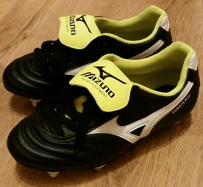 Mizuno Timaru Size UK 3.5 Junior Rugby Boots Black/White/Yellow Screw in Studs