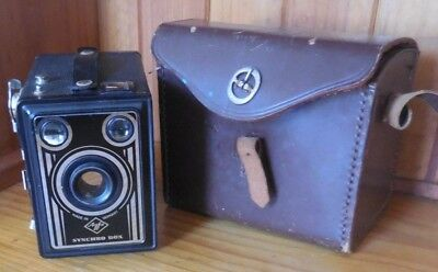 Vintage Agfa Synchro Box Camera Made In Germany Retro GC with leather case