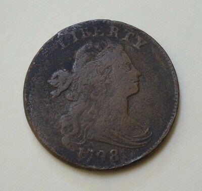 1798 Draped Bust Large Cent, Vg  ~  Desirable First Hairstyle