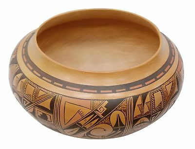 Dee Setalla, Large Bowl, Hand Coiled Pottery, Hopi Handmade, 8.5 in x 15.5