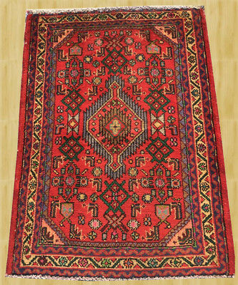 Hand Knotted Semi Antique Persian Hamadan Wool Area Rug 3x2 Ft (3009)