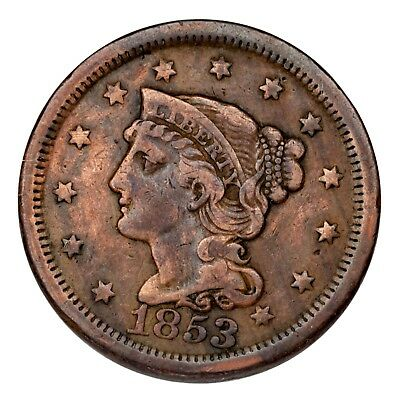 1853 Braided Hair Large Cent 1C Penny (Fine, F Condition)