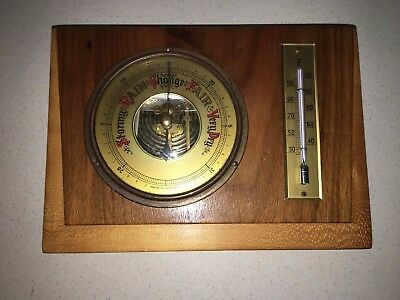 Retro Vintage Timber Open Face Barometer Thermometer Made In Germany