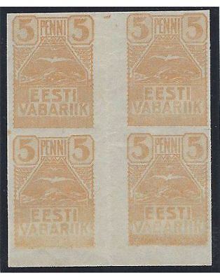"Estonia. 1919 (13 May). ""Seagulls"" definitives. GUTTER BLOCK."