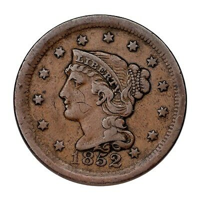 1852 Braided Hair Large Cent 1C Penny (Very Fine, VF Condition)