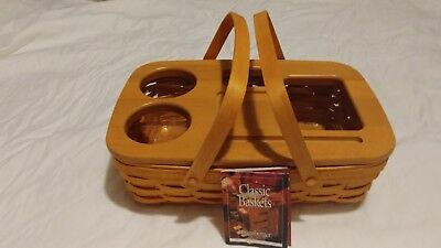 Longaberger Small Gathering Basket with Roadtrip Lid and Plastic Protector