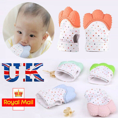 Silicone Baby Mitt Teething Mitten Teething Glove Wrapper Teether Safety Soft UK