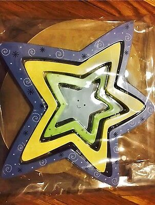 BABY BOY/GIRL NURSERY DECOR WOOD PLAQUE HANGING WALL ART Stars & Moon 5pc