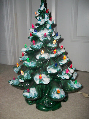 Vintage Ceramic Atlantic Mold Lighted 2pc Flocked Christmas Tree 19 inches