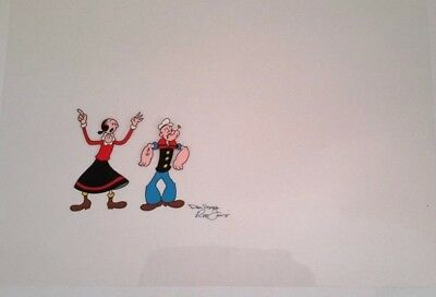 POPEYE & OLIVE ORIGINAL ANIMATION CEL signed by Dan Hunn and Ron Fritz