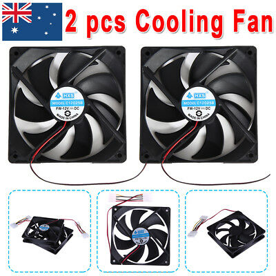 2Pcs Cooling Fans Brushless PC Computer Cooler 12V Black 120mm x 120mm x 25mm AU