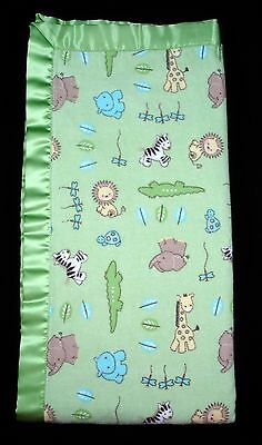 Just Born Baby Blanket Reversible Green Safari Animals Stripes Flannel Satin