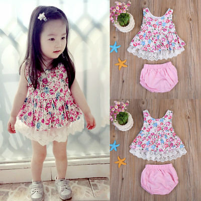 Infant Newborn Baby Girl Kids T-shirt Floral Tops Dress Shorts Pants Clothes HOT