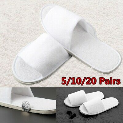10/20 Pairs White Towelling Open/Closed Toe Hotel Slippers Spa Shoes Disposable