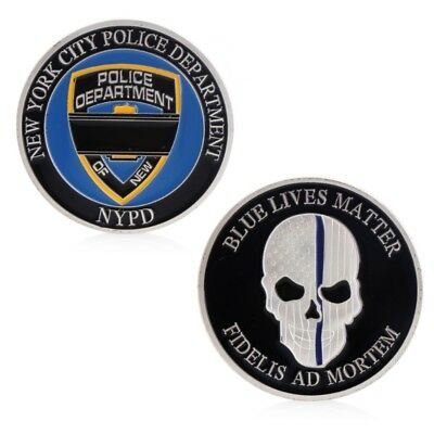 New York Police Blue Life Matter Skull Commemorative Coin Collection Art Plating