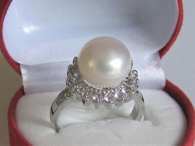 Beautiful Genuine 9-10 mm White Freshwater Pearl and Simulated Diamond Ring