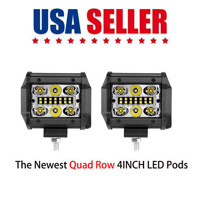 "5"" Spot Flood Combo LED Work Light Pods Quad Row 168W Driving Off-Road Truck 4WD"