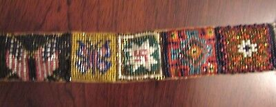 "Antique NAVAJO SAMPLER BELT with"" Whirling Log"" swastika and rug patterns,flags"
