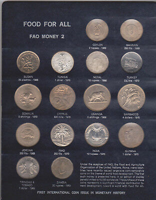 1968-70 Food For All Money#2-16 Proof World Coins-Rupees-Dollars-Shillings-Fils