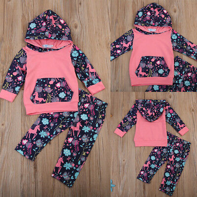 24b76d4f8 2PCS Toddler Infant Baby Girls Outfits Unicorn Hooded Tops Floral Leggings  Pants
