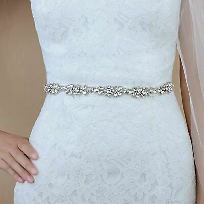 Flower Style Crystal Bridal Sash Wedding Party Bride Belt Dress Sash (17*0.8in)