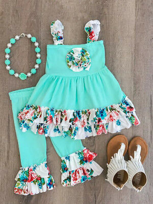 Baby Girl Ruffled Flower Outfits Girl T-Shirt Top Tee+Pants Clothes Outfits Set