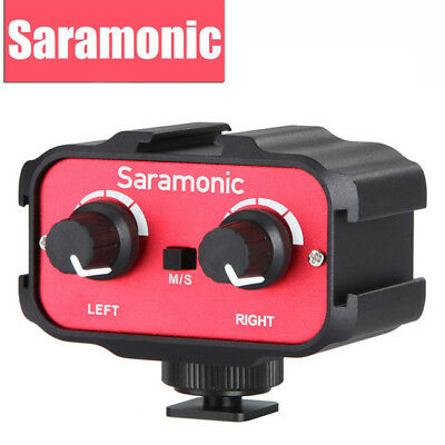 New Saramonic SR-AX100 Audio Adapter 2 Channel 3.5mm Inputs for DSLR Cameras