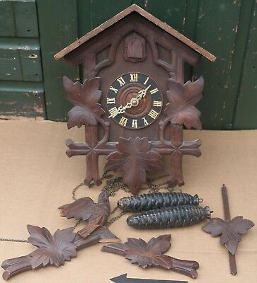 Splendid Large Impressive Old German Wooden Cuckoo Clock To Restore