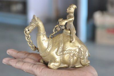 Old Brass Solid Heavy Casted Camel & Rider Shape Handcrafted Inkpot