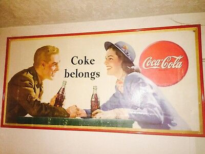 Coca-Cola Lithograph sign of (soldier and dame) C. 1946 (advertising) wwii art