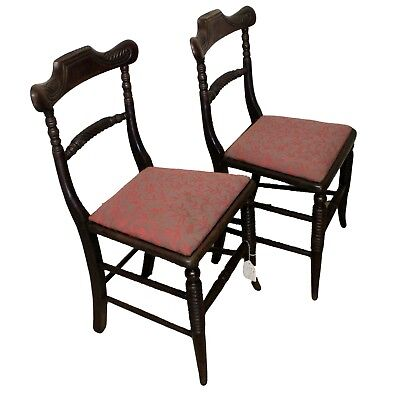 Pair of Regency Antique Rosewood Dining Chairs with Upholstered Seat Pads