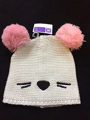 Girls winter hat, white & pink, w/ pom poms, ages 3 & up, cute, NEW!