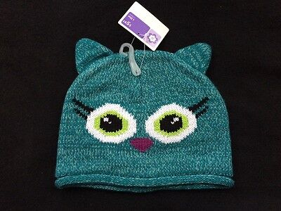 Girls winter hat, kitten, teal, cute, ages 3 & up , NEW!