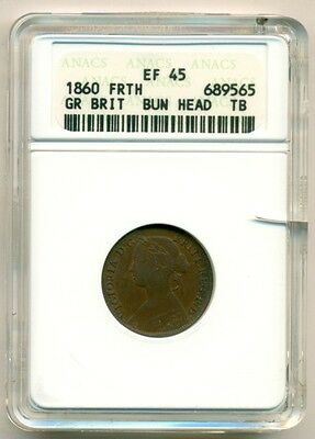 Great Britain 1860 1/4 Penny Farthing Toothed Border XF45 (BN) ANACS*