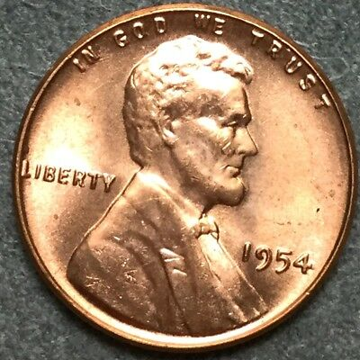 *1954 P* RD Red Uncirculated Lincoln Wheat Cent Penny L343 *Free S&H*