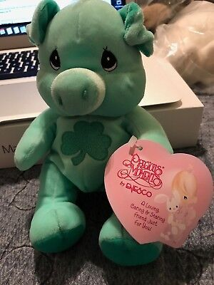 "Precious Moments Tender Tails Green Irish Pig Swine Shamrock   6""  MINT W TAGS"