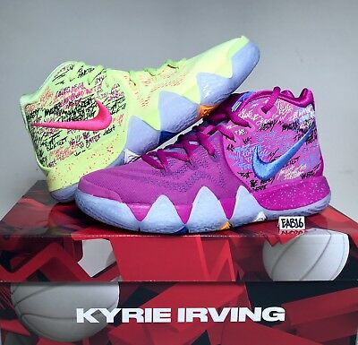 Nike Kyrie Irving 4 IV CONFETTI Purple and Yellow Multi Color Mens GS Kids Boys