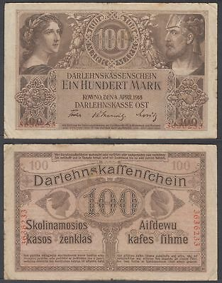 Germany 100 Mark 1918 (F) Condition Banknote Kowno OST P-R133