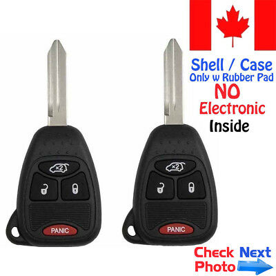 2x New Replacement Keyless Remote Key Fob For Chrysler Dodge Jeep - Shell Only