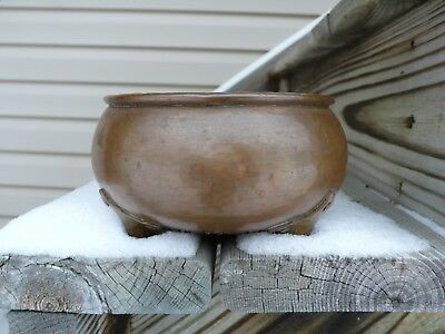 """Gustav Stickley 6"""" Hammered Copper Nut Bowl Arts & Crafts Mission Rare Early"""